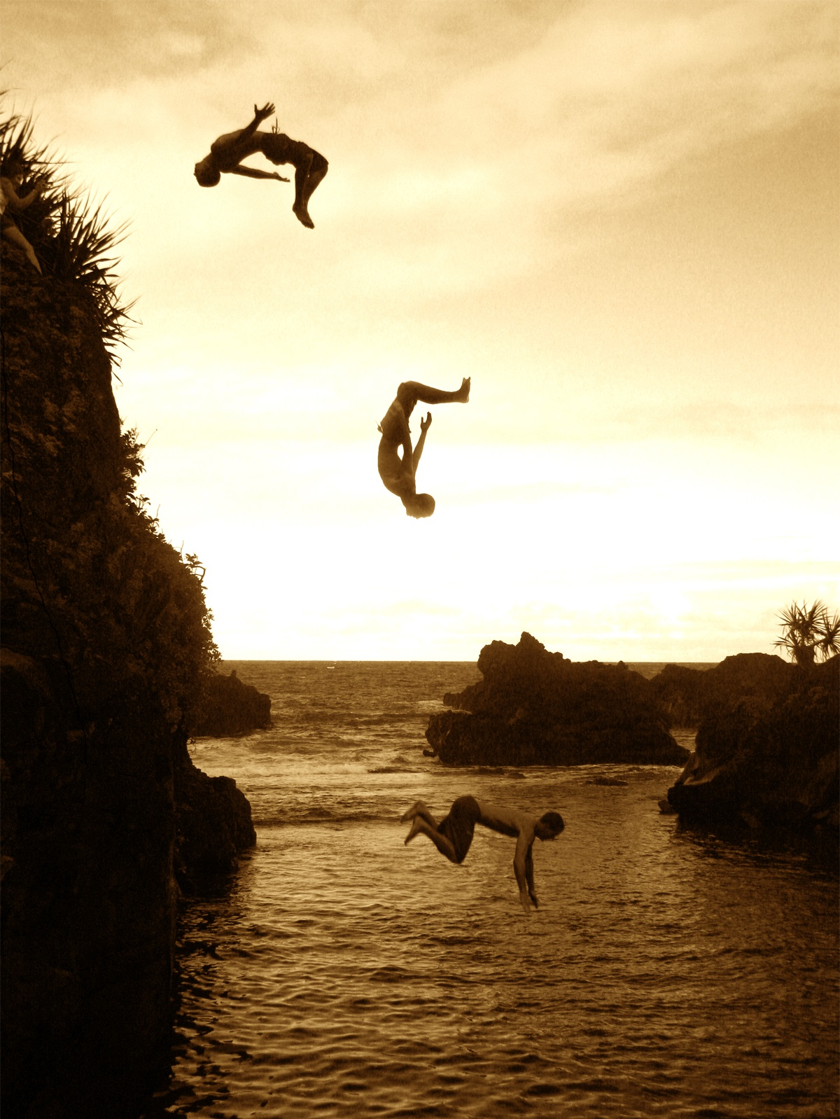 flip from cliff into water