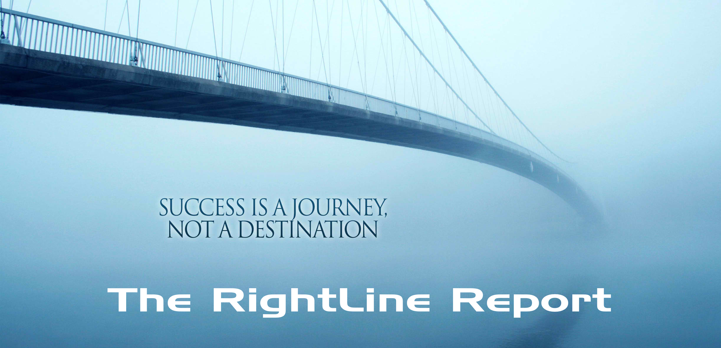 A beautiful suspended bridge in a foggy mist conveys the concept that online stock trading is a journey instead of a destination.