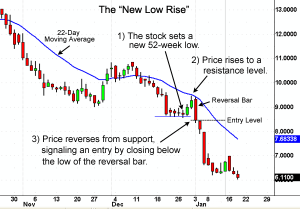 An example price chart of the Newl_Low Rise online stock trading tactic.