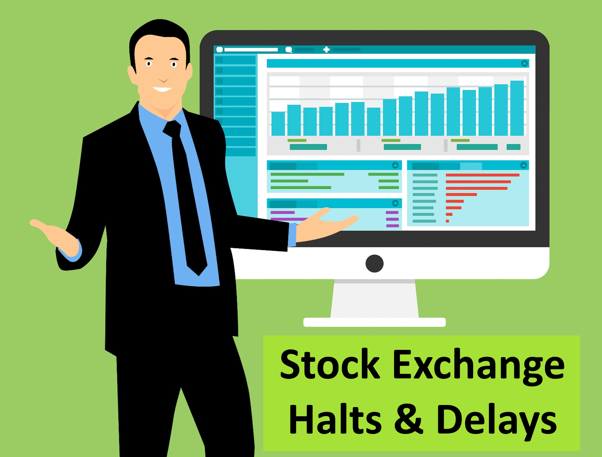Image of stock trader in front of trading terminal with halts and delays sign.